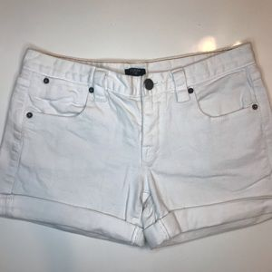 J. Crew white stretch denim shorts